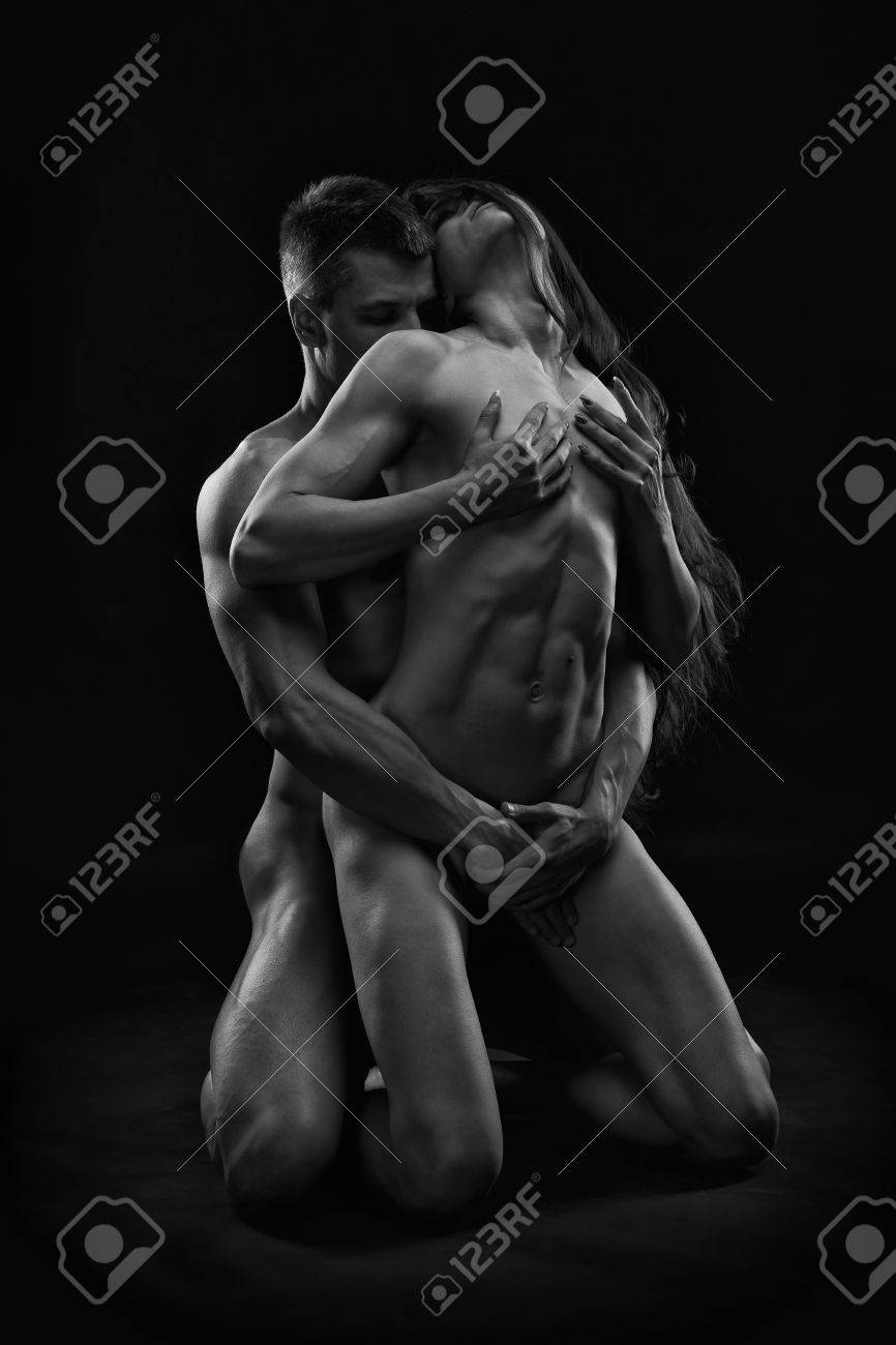 naked couple in black and white